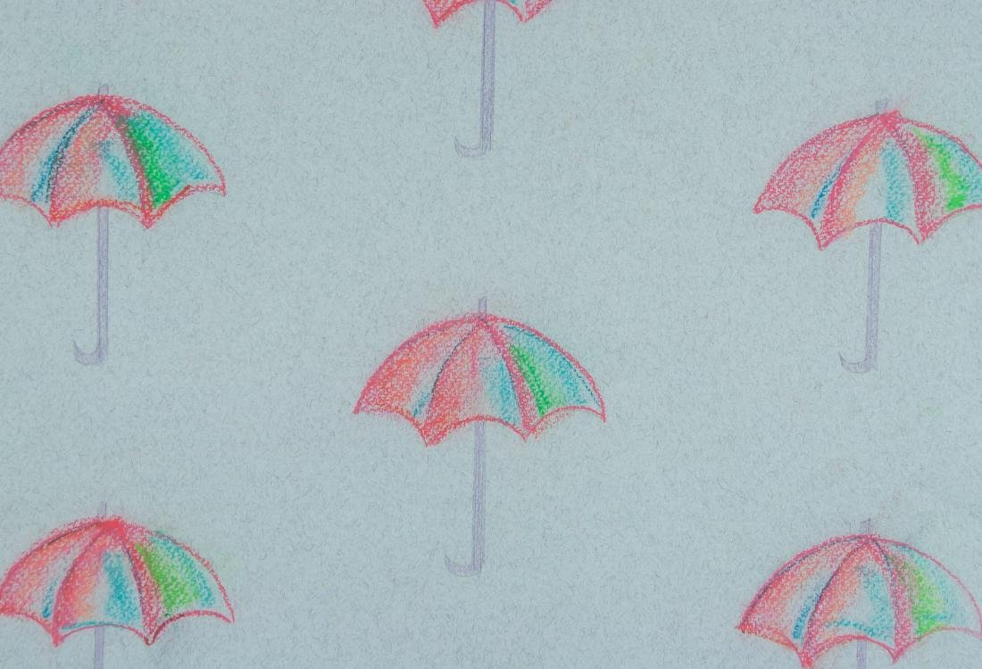 "Attr Andy Warhol 1928-1987 Pastel Paper "" Parasol"" - 3"