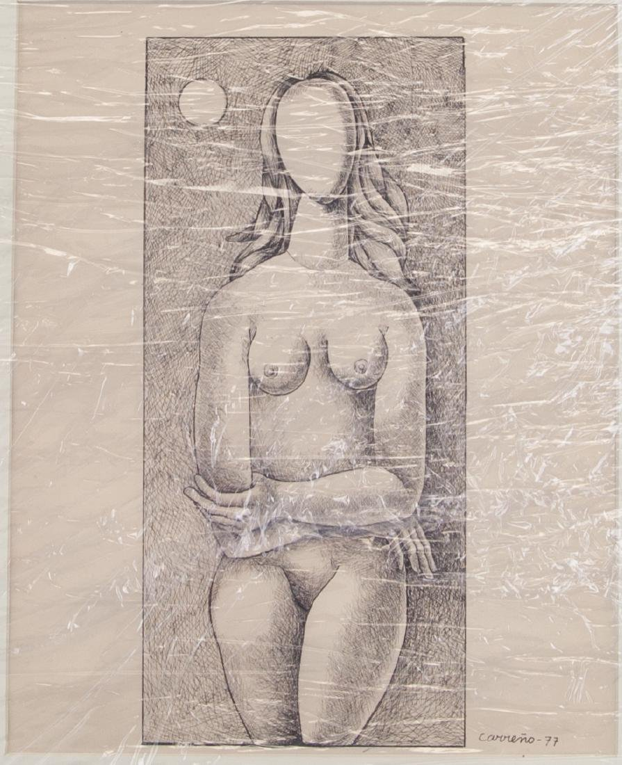 Mario Carreno 1913-1999 Cuban Ink on Paper Framed