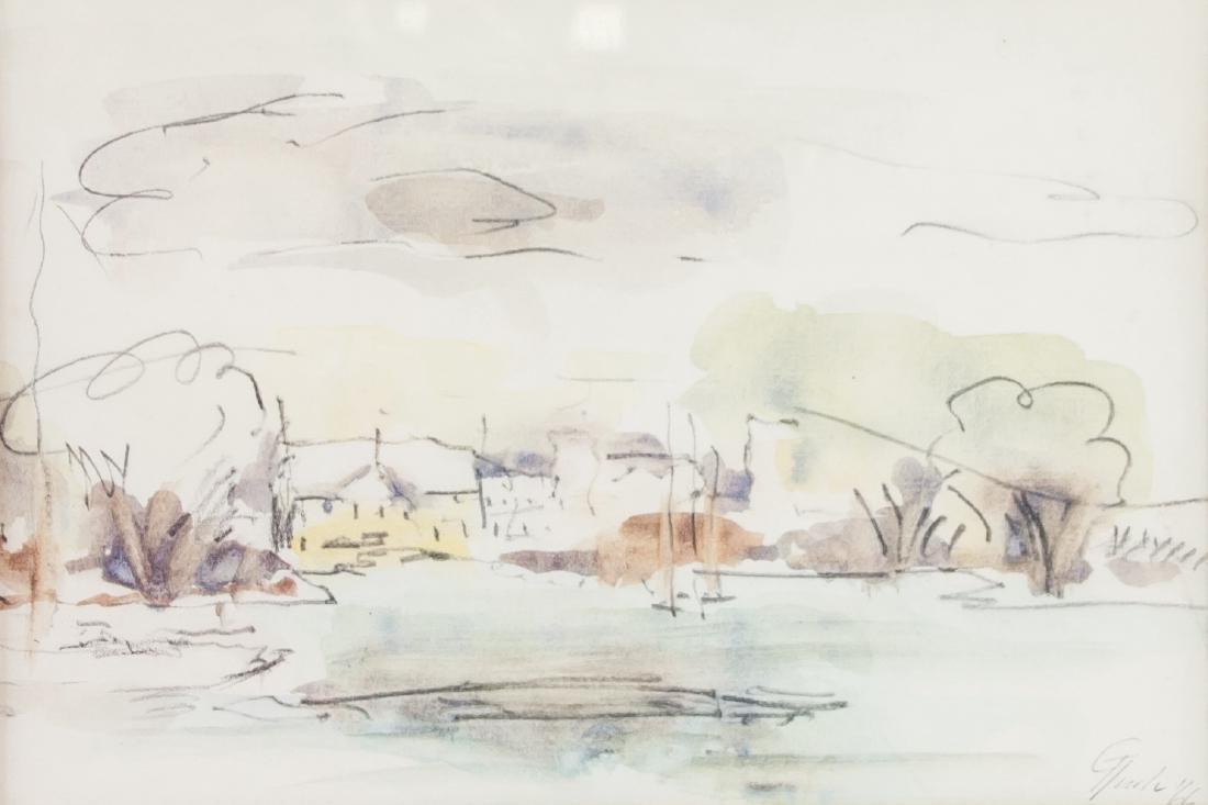 WC & Ink Dated '66 Lachine Coral Landscape Scene
