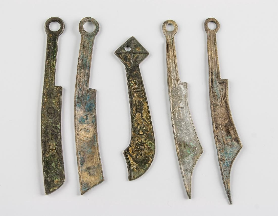 5 Assorted Chinese Han Dynasty Knife Coins