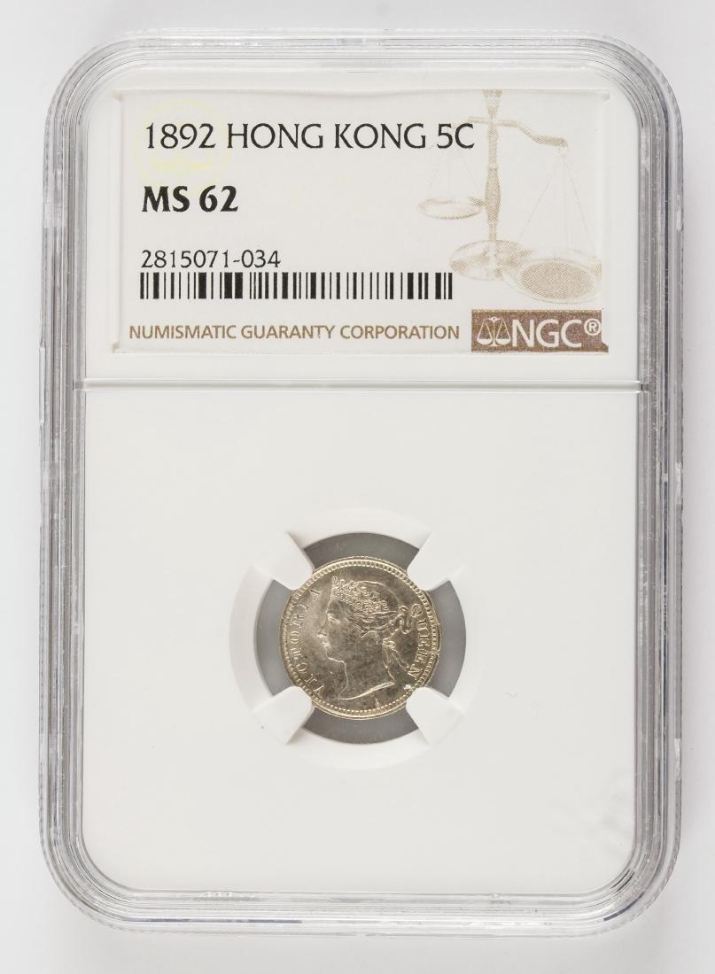 1892 Hong Kong 5 Cents Silver Coin NGC MS62 KM-5