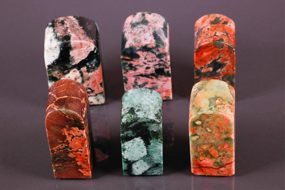 6 Pc Chinese Varieties Blood Stone Seals