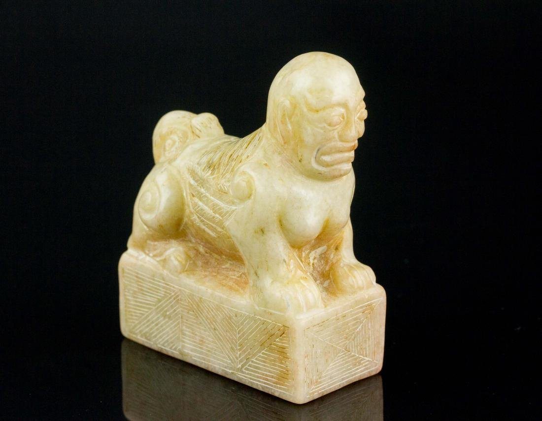 Chinese White Shoushan Stone Carved Beast Seal
