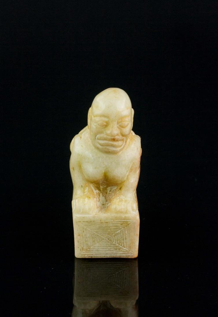 Chinese White Shoushan Stone Carved Beast Seal - 2