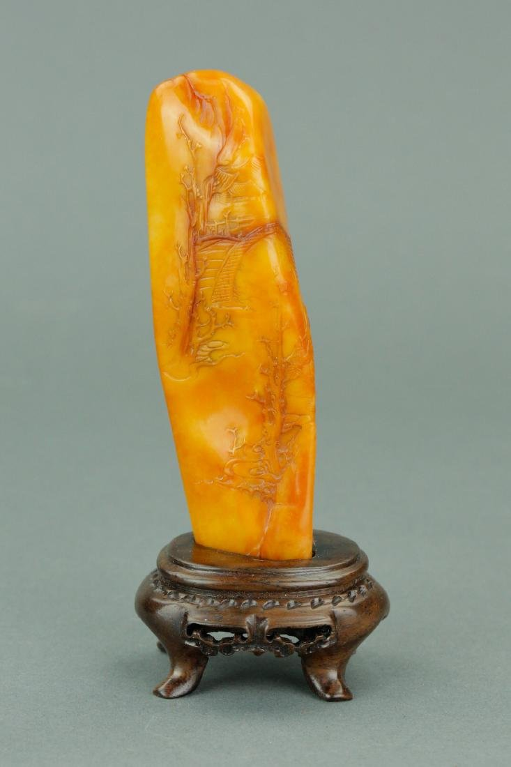 Chinese Rare Tianhuang Stone Seal w/ Stand & Rosew