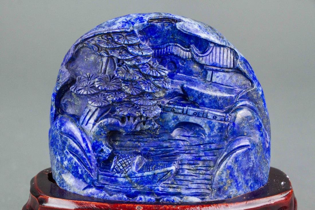 Chinese Lapis Carved Boulder with Stand - 2
