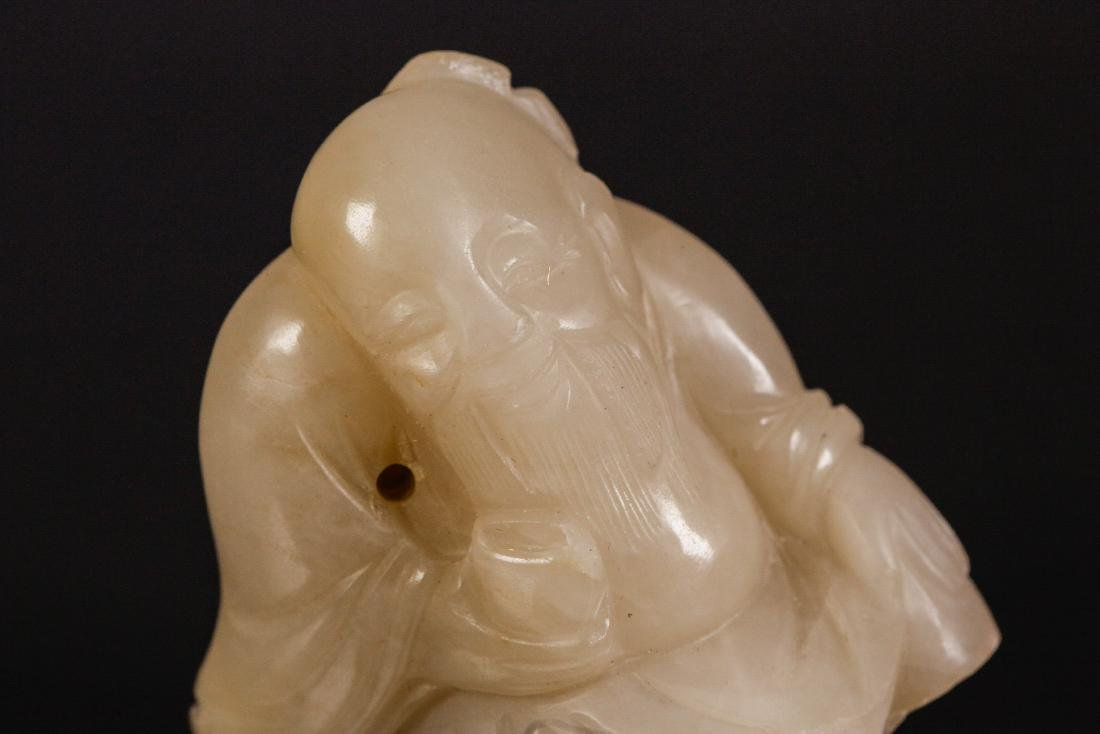 Chinese 18th C. White Jade Carved Old Man - 5