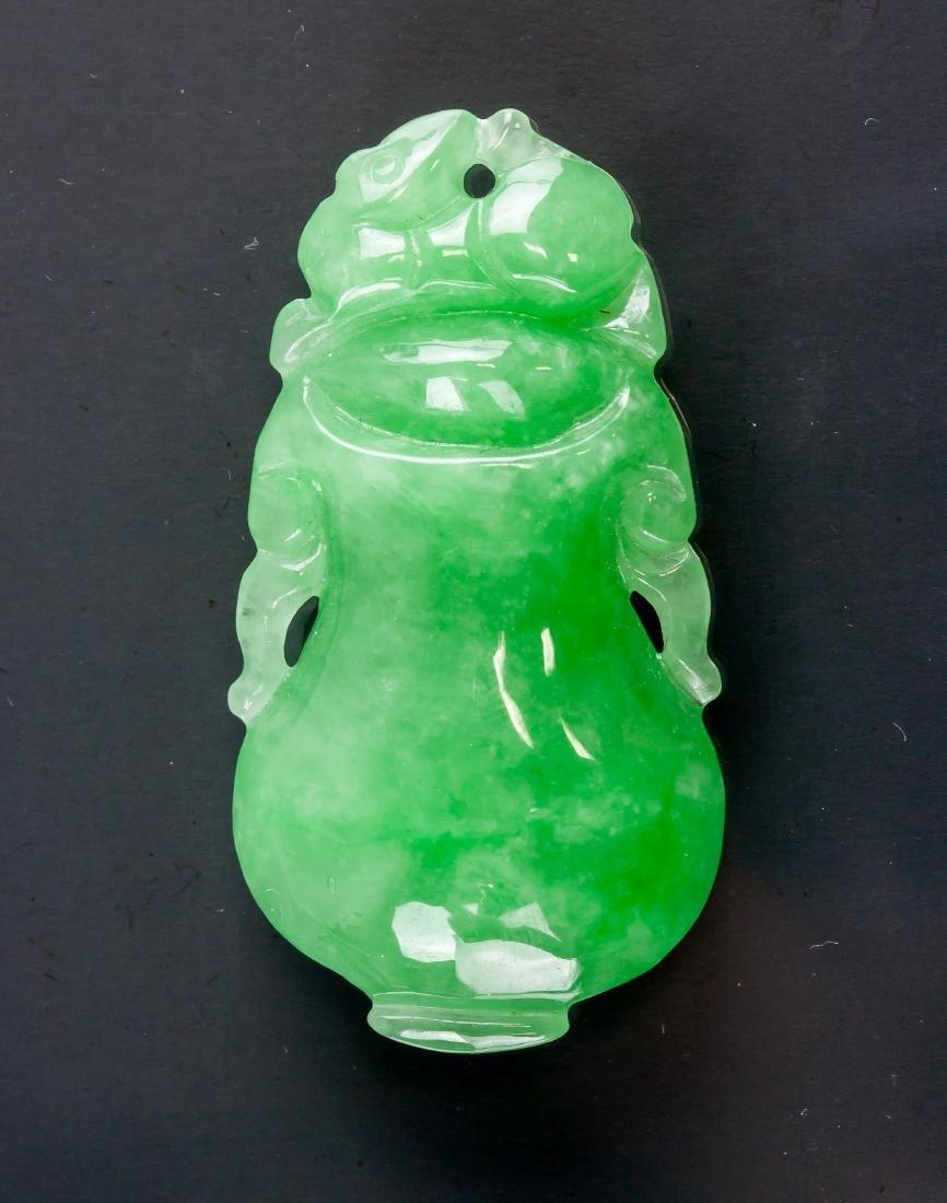Burma Green Jadeite Carved Precious Vase Pendant