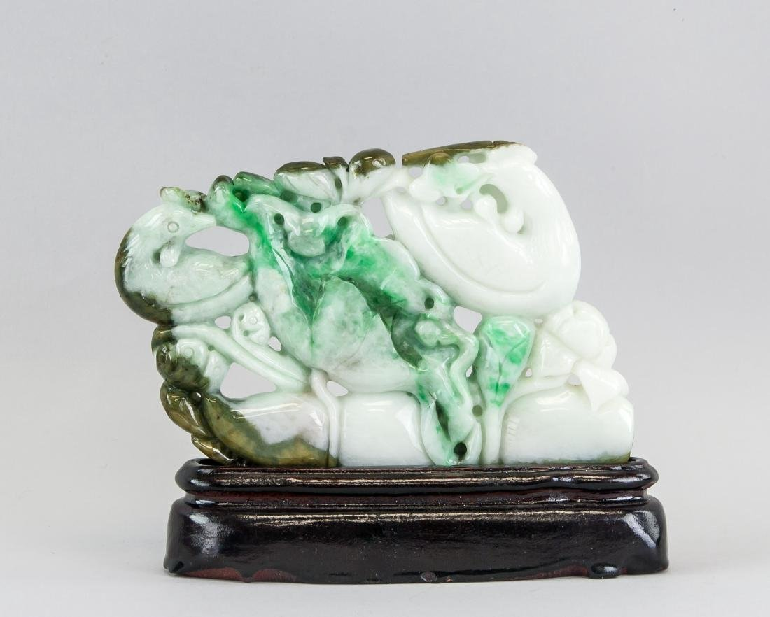 20th Century Chinese Green Jadeite Plaque