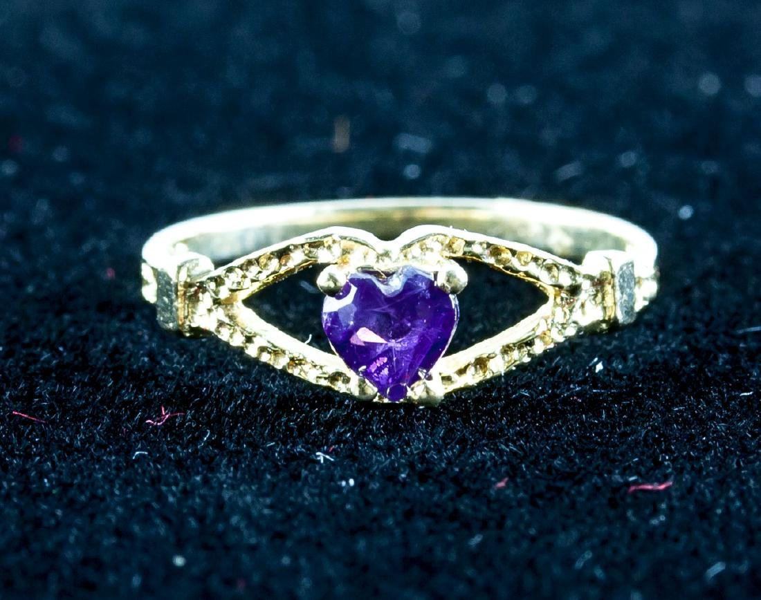 14k Gold Baby Heart Shaped Amethyst Ring