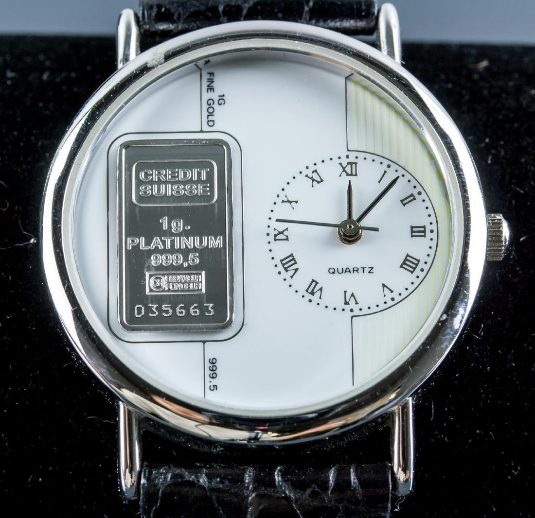 Credit Suiss 1g 999.5 Platinum Ingot Watch w/Cert - 2