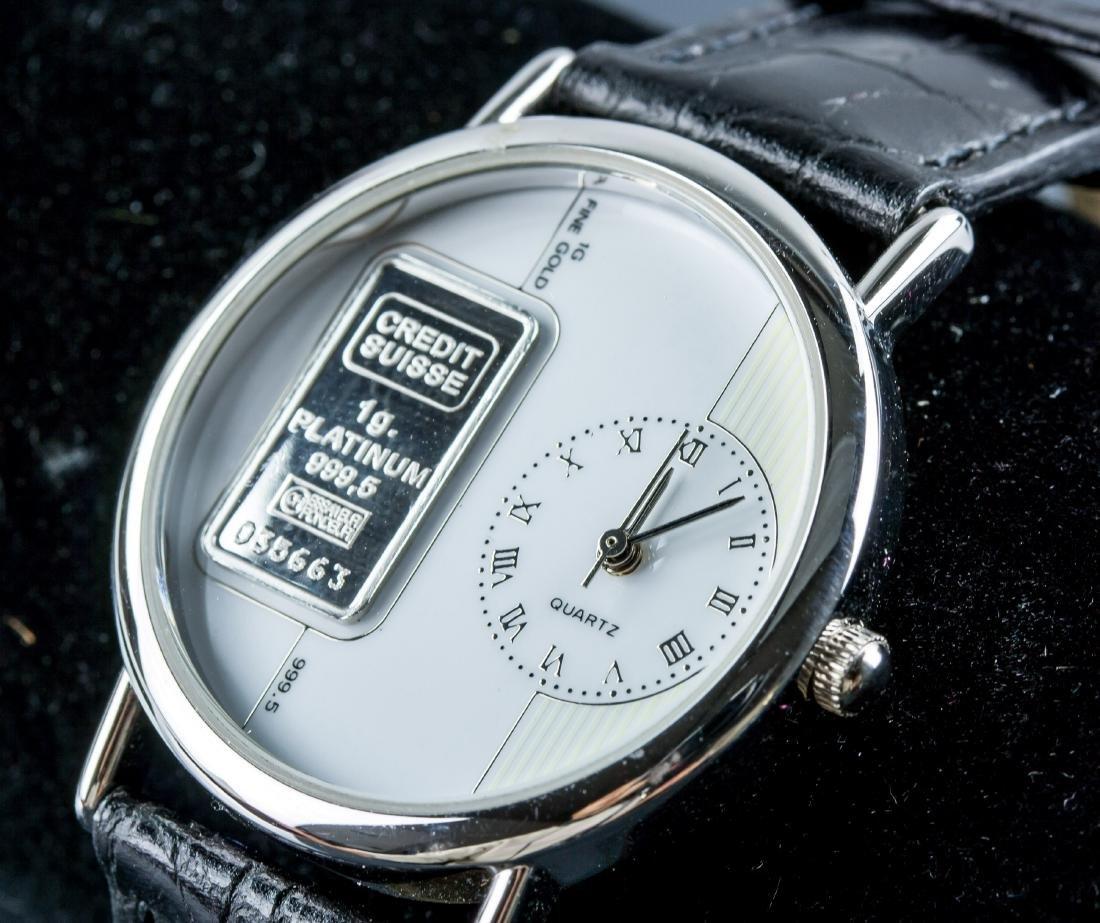Credit Suiss 1g 999.5 Platinum Ingot Watch w/Cert - 3