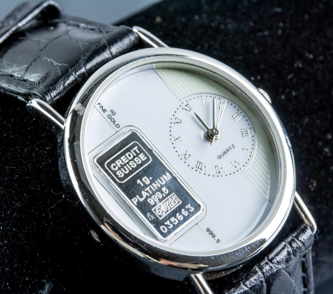 Credit Suiss 1g 999.5 Platinum Ingot Watch w/Cert - 4