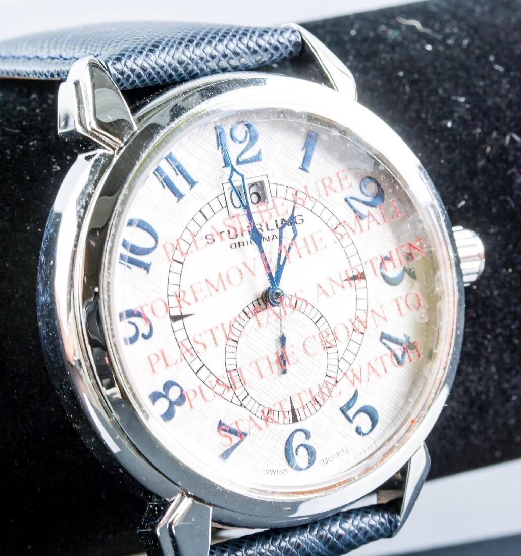Stuhrling Original Genuine Leather Blue Watch - 3