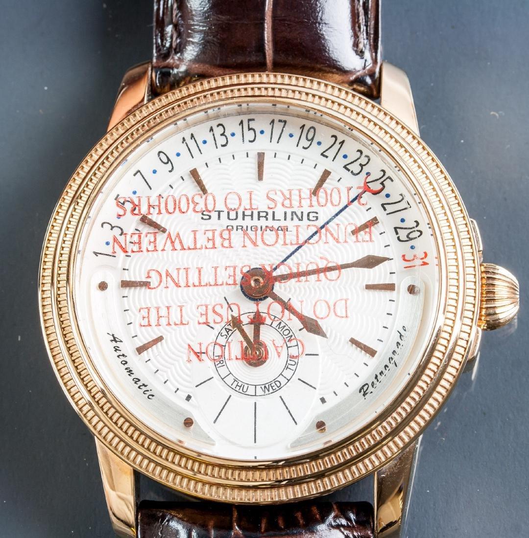 Stuhrling Original Genuine Leather Bronze Watch