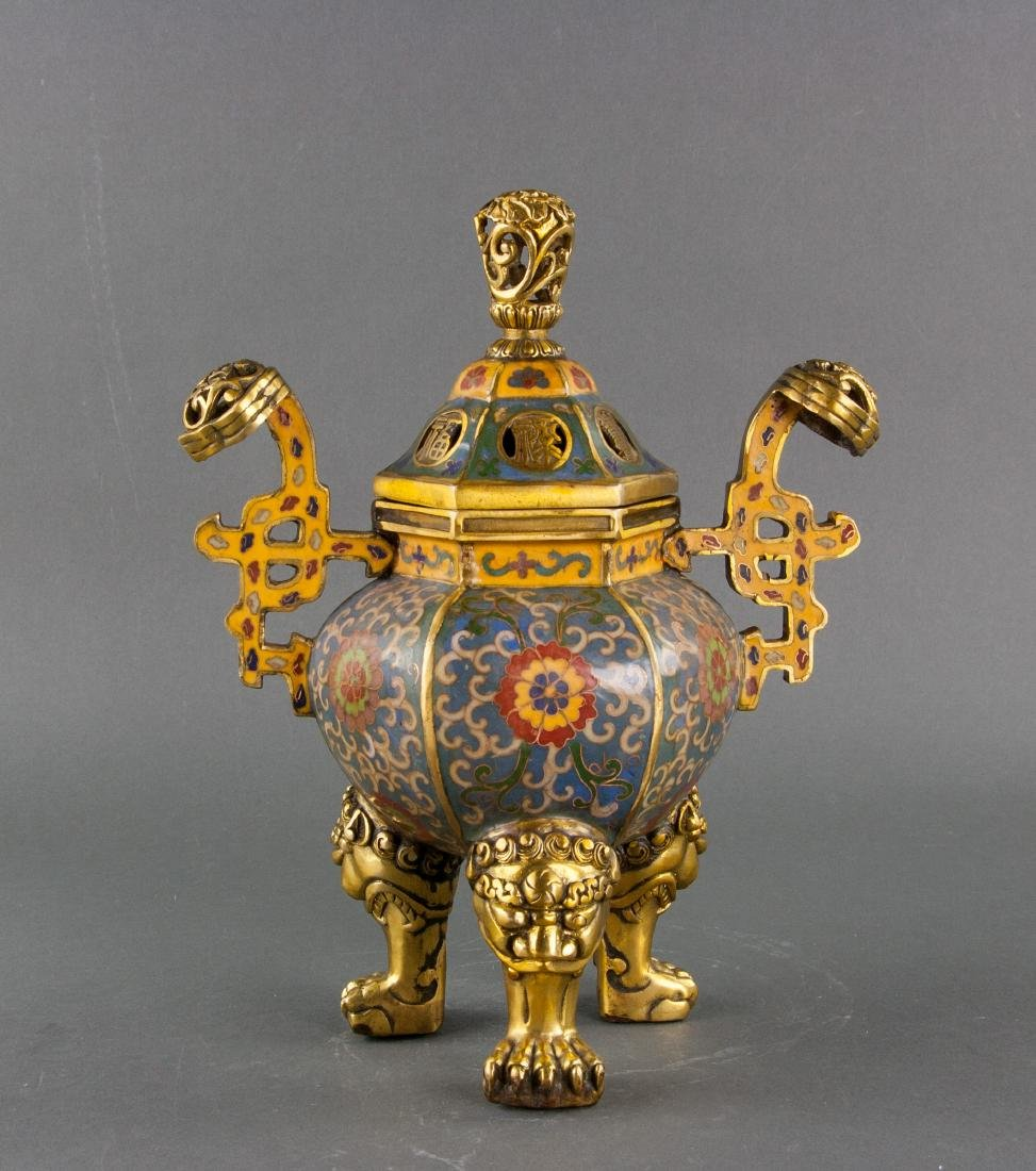 Chinese Cloisonne Bronze Lion Censer Xuande Mark