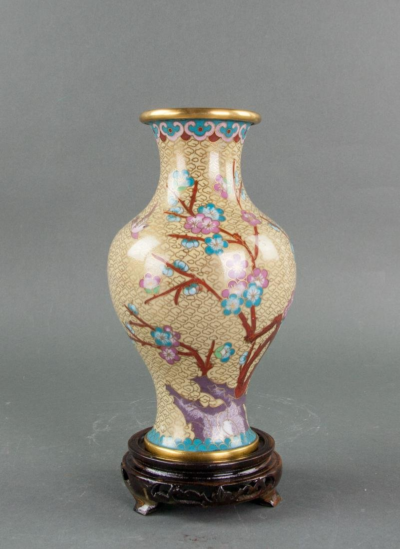 Chinese Cloisonne Bronze Vase w/ Wood Stand 20th C