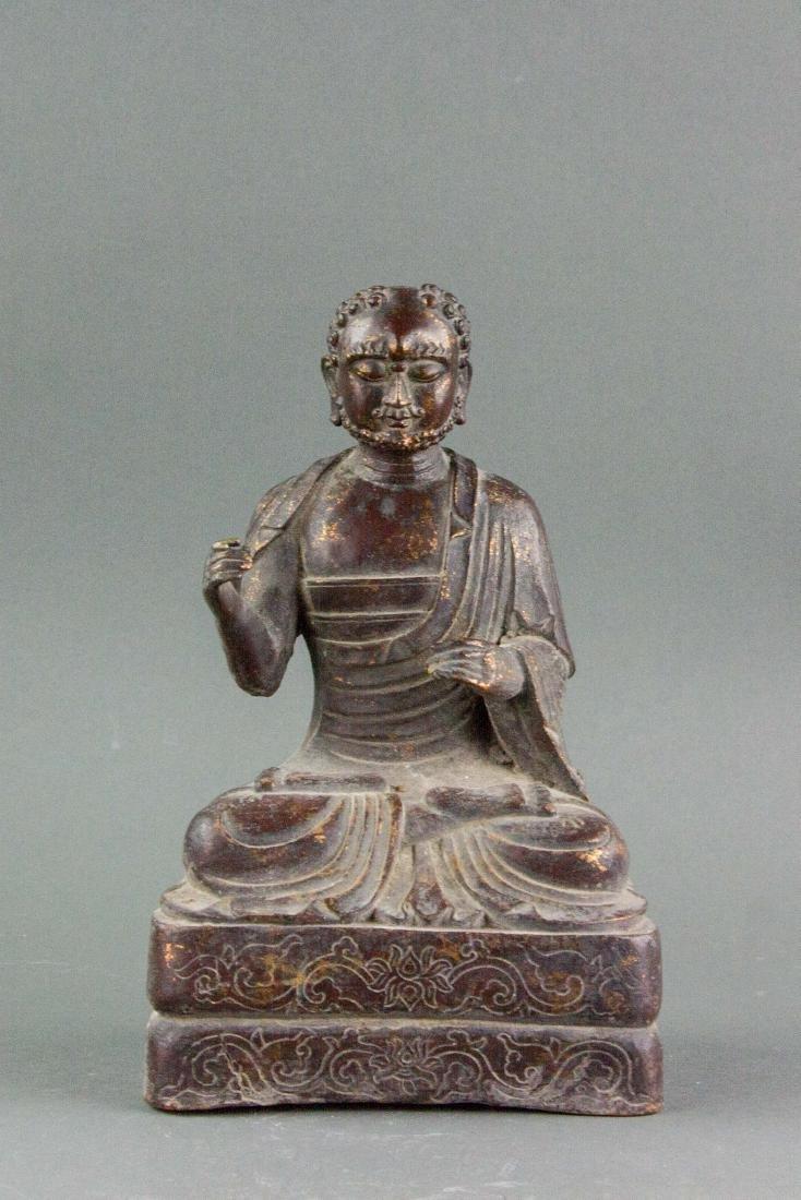 Chinese Gilt Bronze Bodhidharma Statue