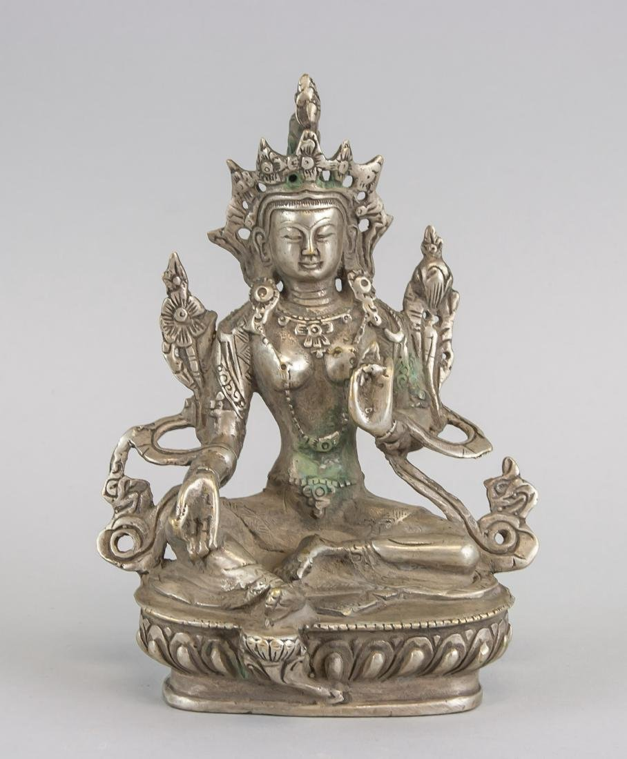 Chinese Silver Green Tara Statue w/ Thunderbolt MK