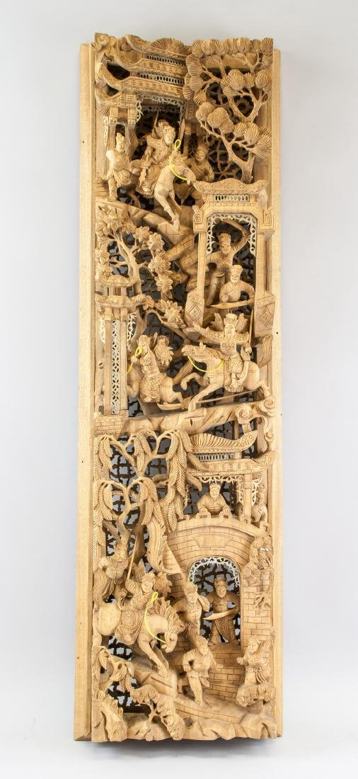 Chinese Gilded Wood Warriors Plaque