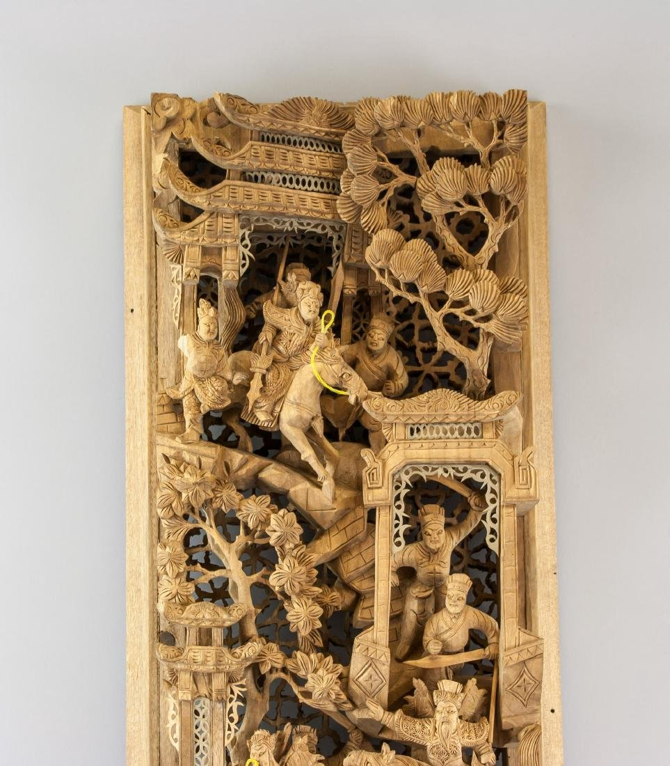 Chinese Gilded Wood Warriors Plaque - 2