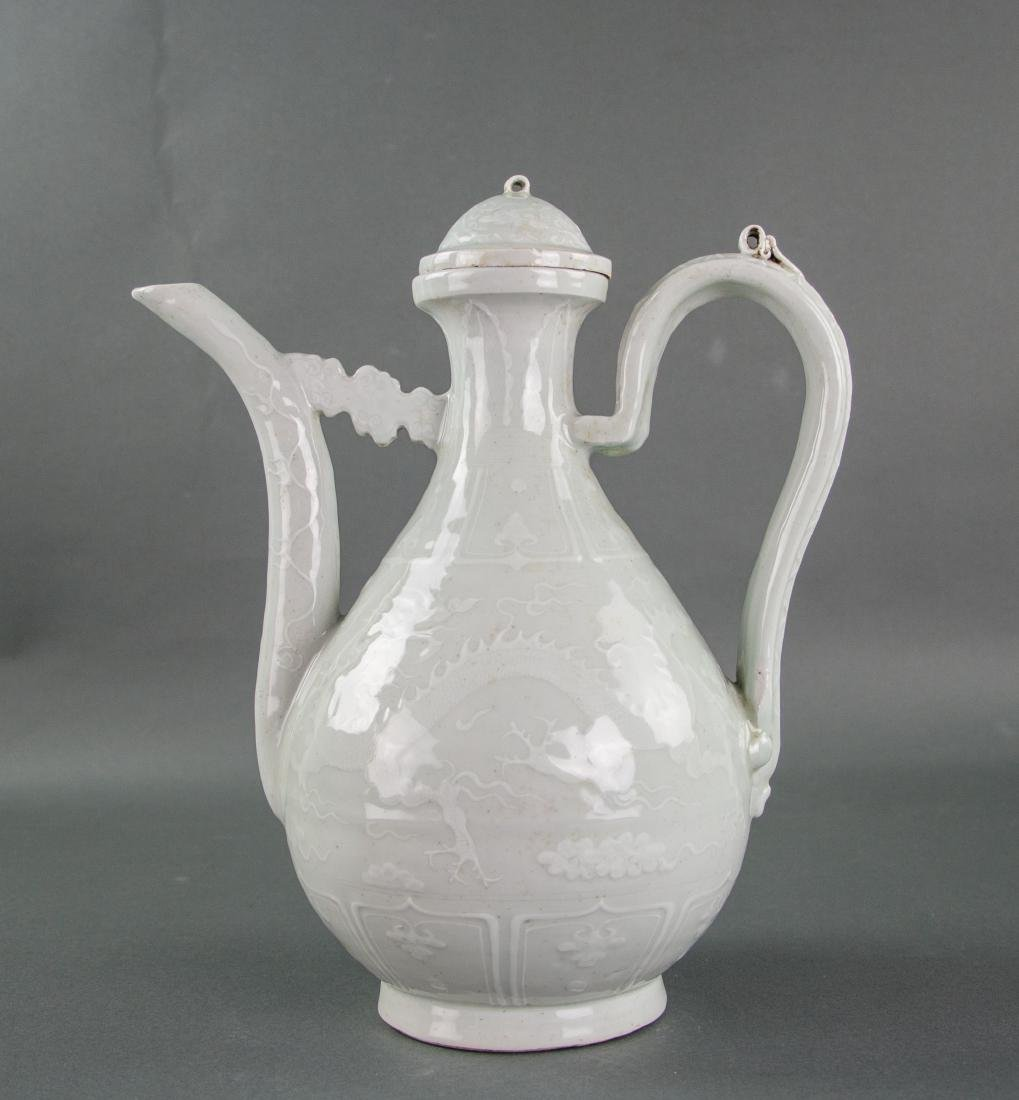Chinese Imperial Style White Porcelain Wine Pot