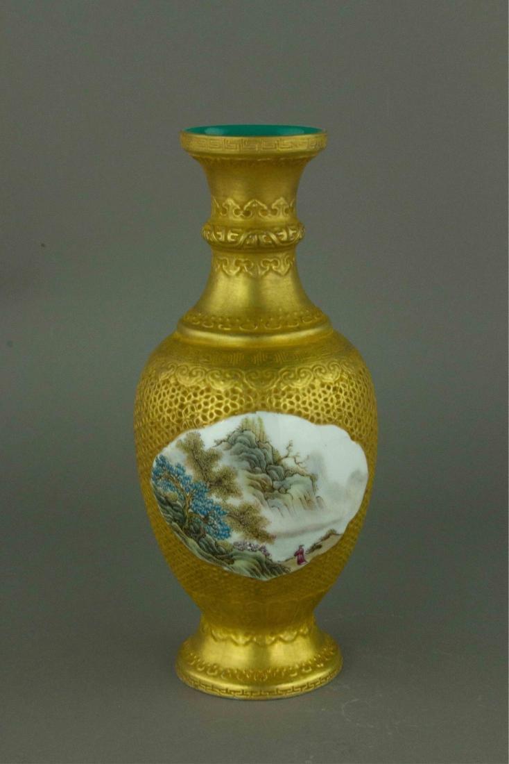 Gilt Famille Rose Porcelain Vase Qianlong Mark