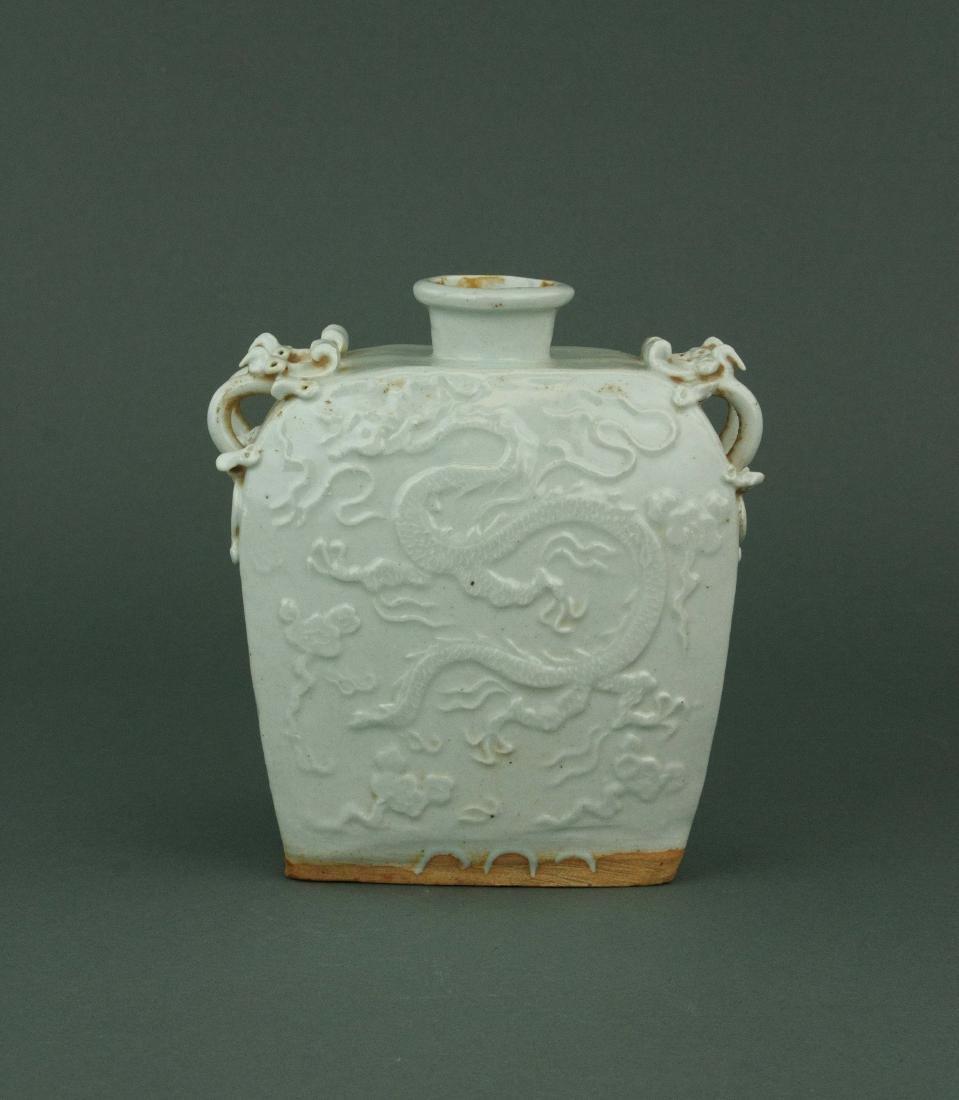 Yuan/Ming Chinese White Glazed Porcelain Vase