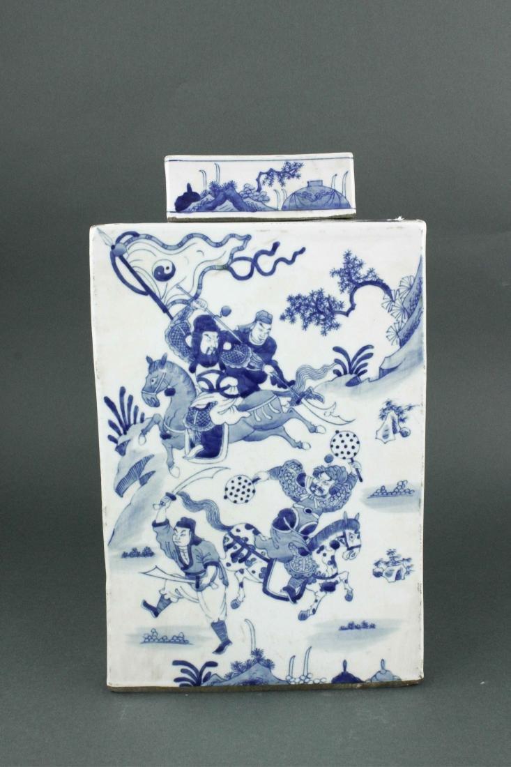 Chinese BW Square Porcelain Jar w/Cover Kangxi MK