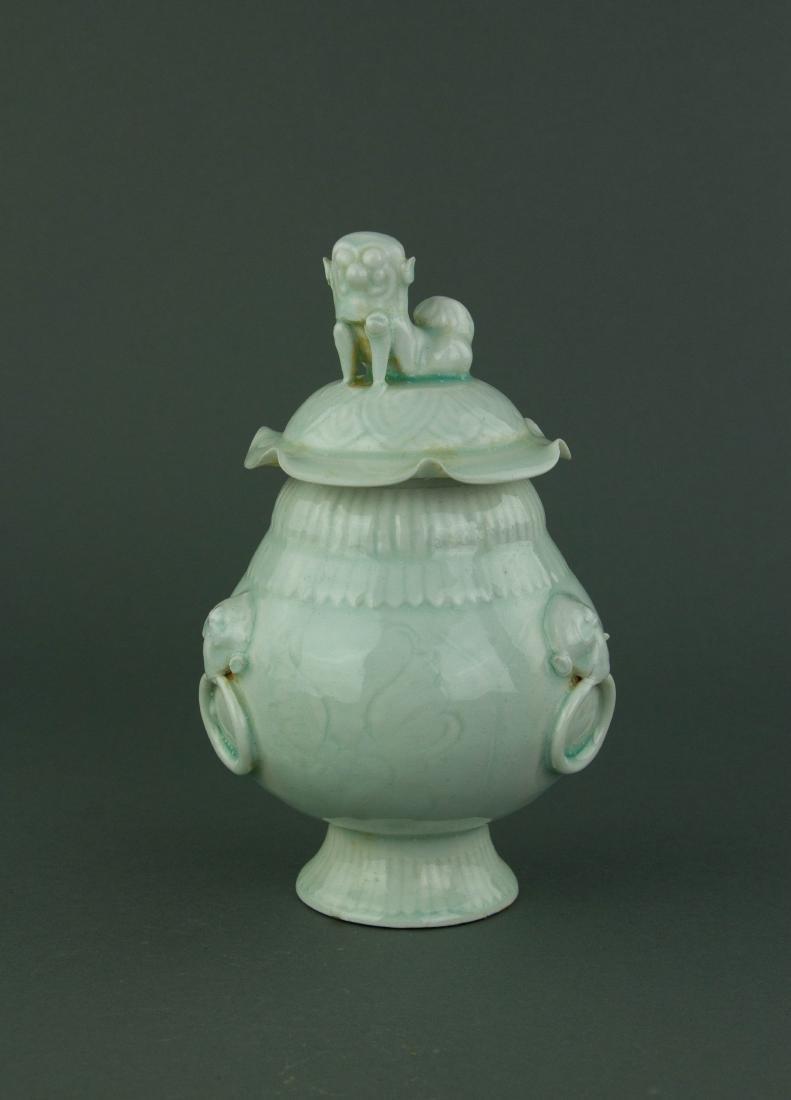 Qingbai Fine Celadon Porcelain Jar with Cover
