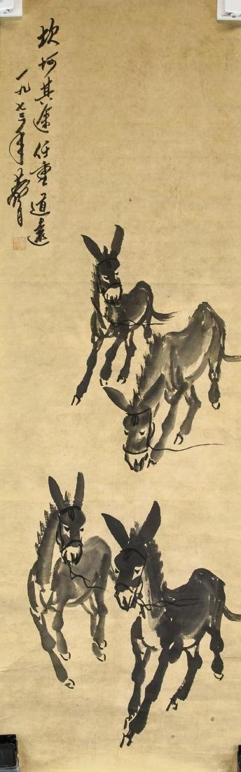Huang Zhou 1925-1997 Chinese Ink Donkeys
