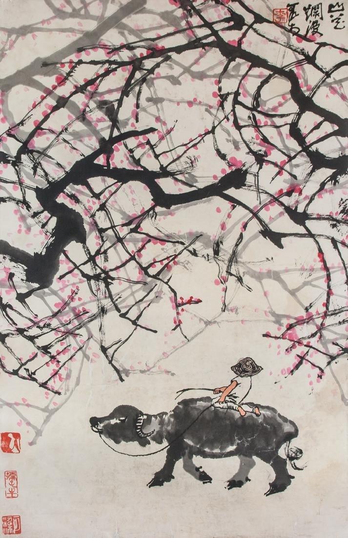 Li Keran 1907-1989 Chinese Watercolour Cowboy