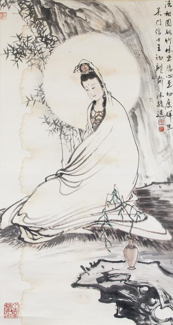 Wang Xiqi b.1938 Chinese Watercolour Guanyin