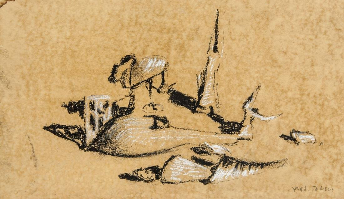 Yves Tanguy 1900-1955 French Charcoal Chalk Study