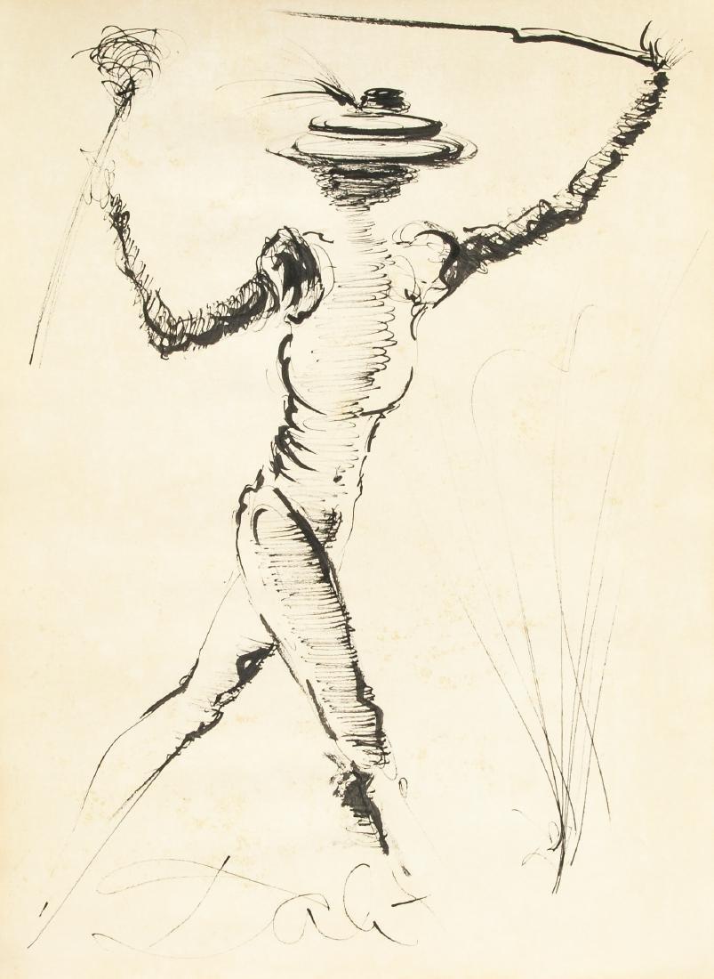 Salvador Dali 1904-1989 Spain Ink Study Figure