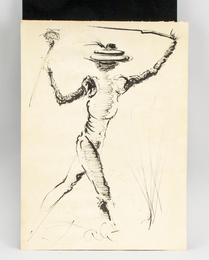 Salvador Dali 1904-1989 Spain Ink Study Figure - 2