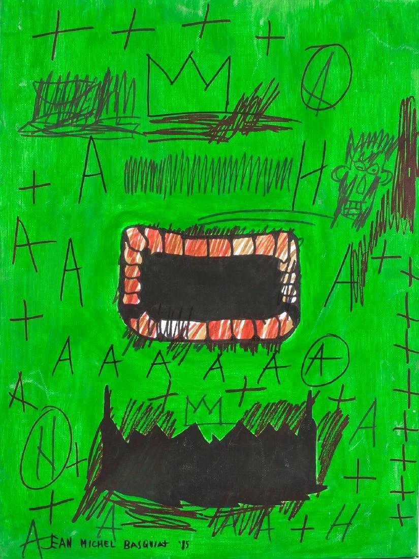 Jean-Michel Basquiat 1960-1985 Mixed Media Face