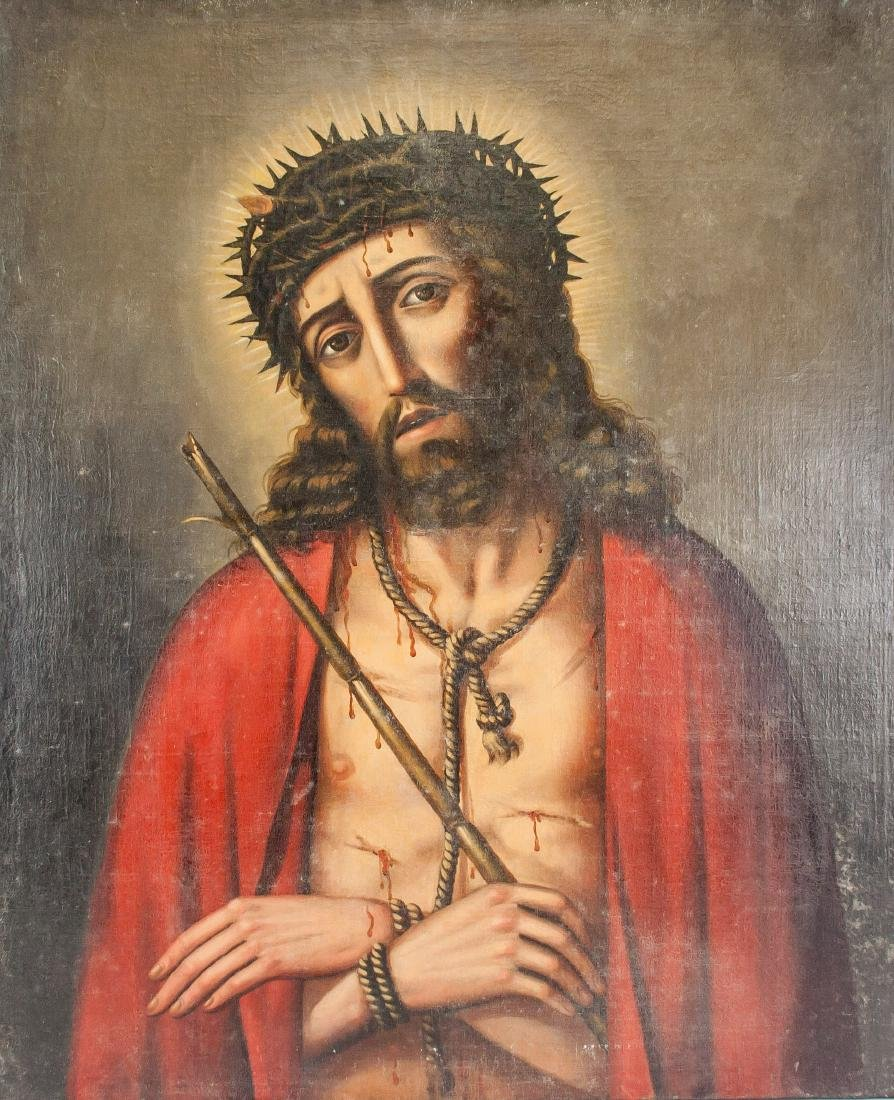 Bolivian Oil on Canvas Painting of Christ