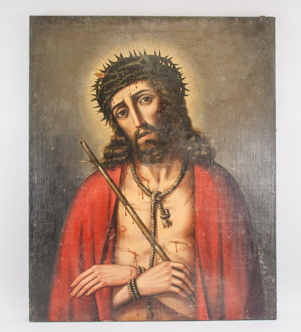 Bolivian Oil on Canvas Painting of Christ - 2