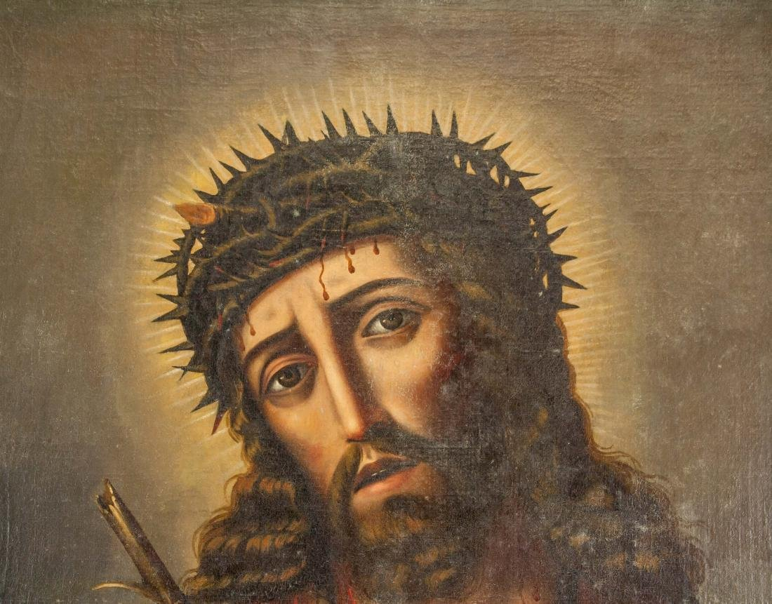 Bolivian Oil on Canvas Painting of Christ - 3