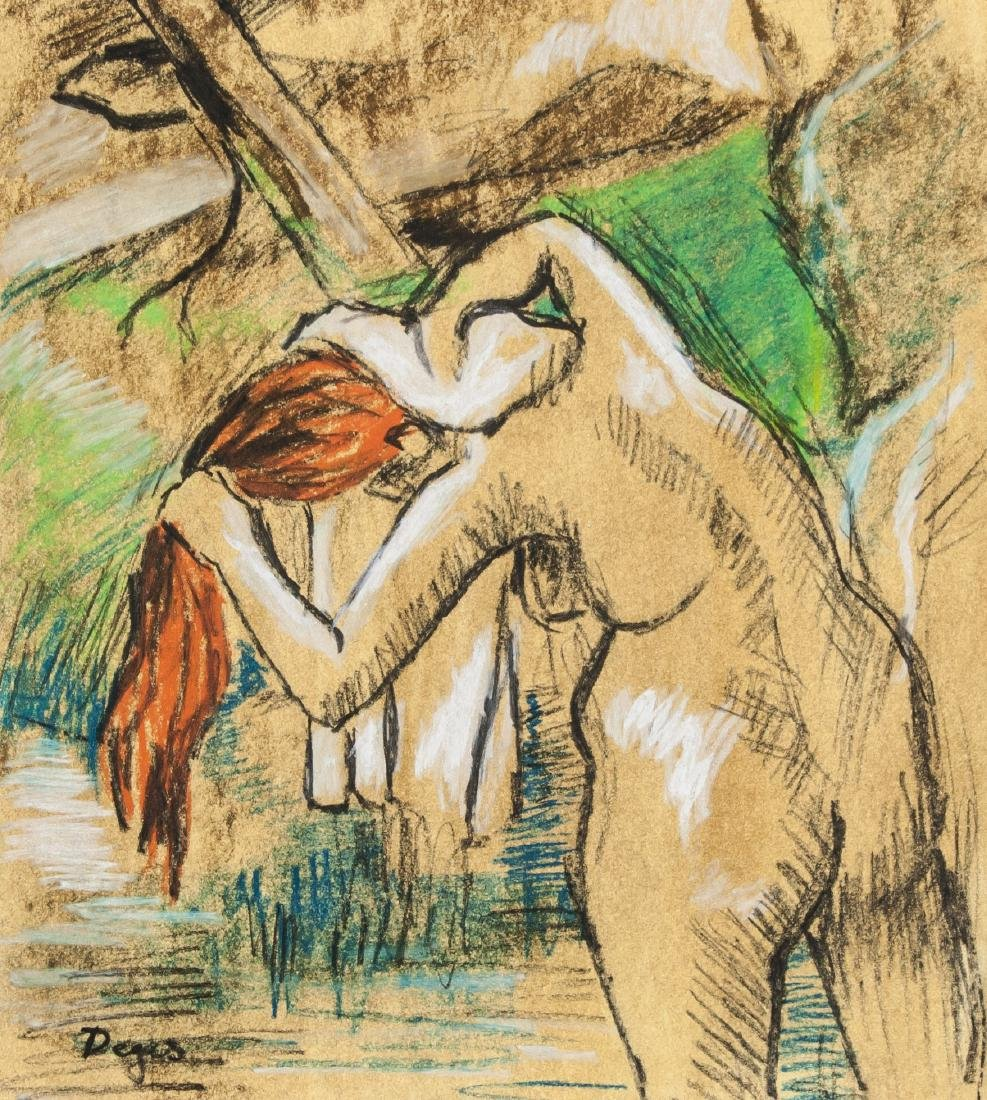 Edgar Degas 1834-1917 French Pastel Chalk Bather