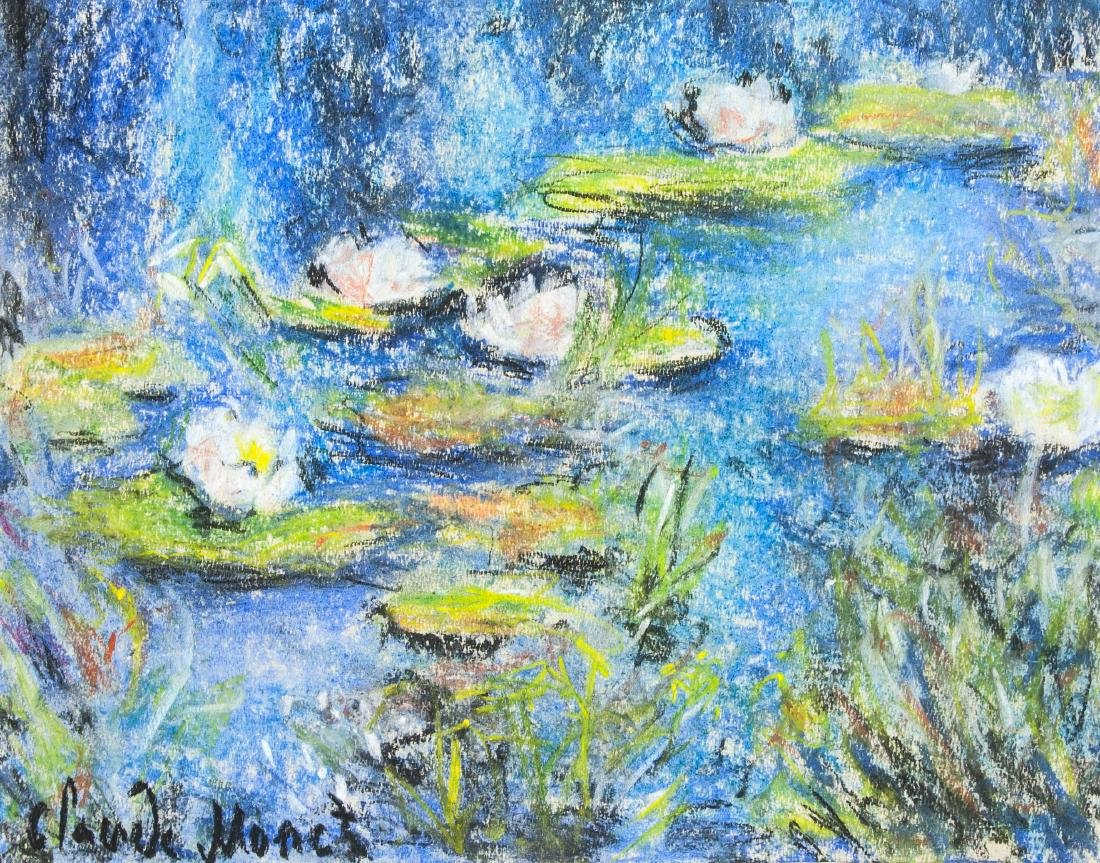 Claude Monet 1840-1926 French Pastel Water Lilies