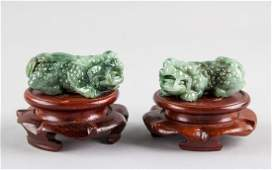 Pair Burma Green Jadeite Carved Guardian Lion