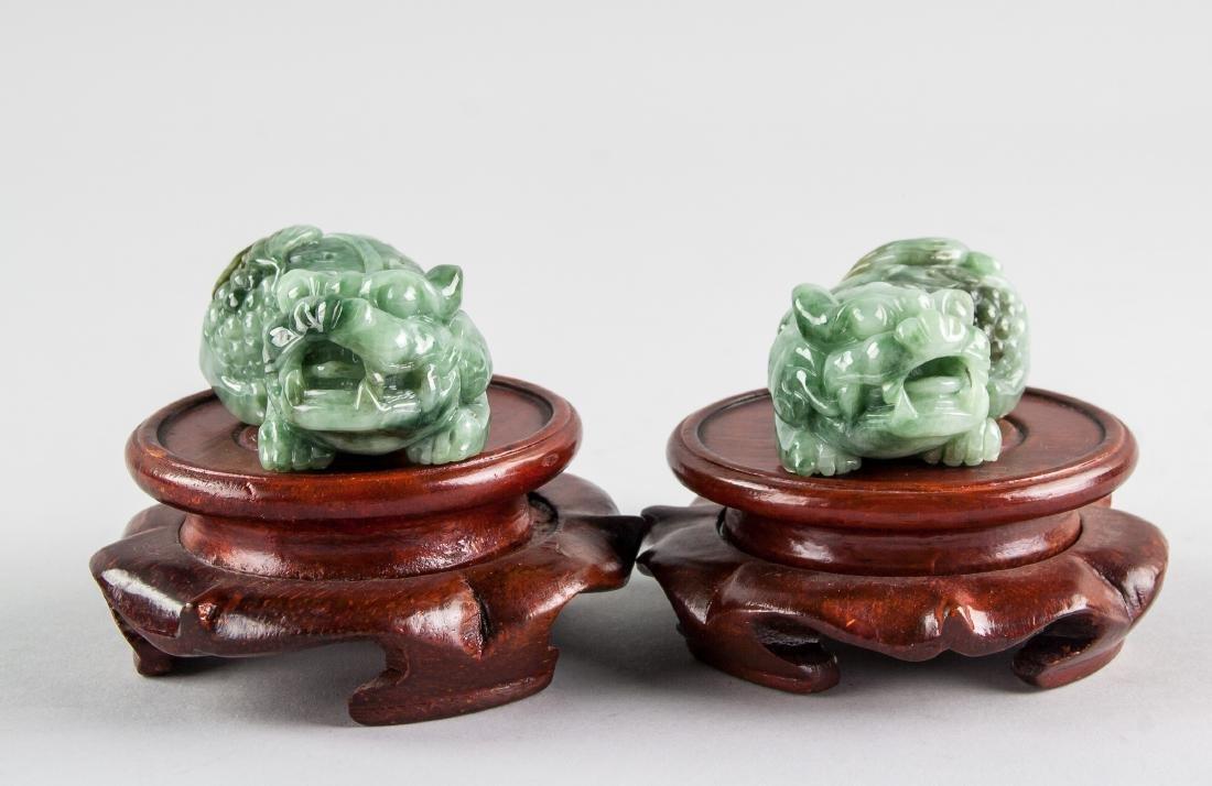 Pair Burma Green Jadeite Carved Guardian Lion - 2