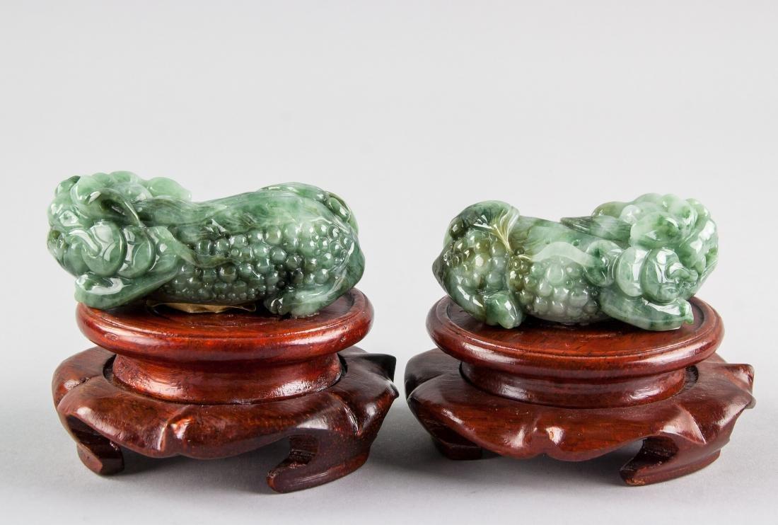 Pair Burma Green Jadeite Carved Guardian Lion - 3