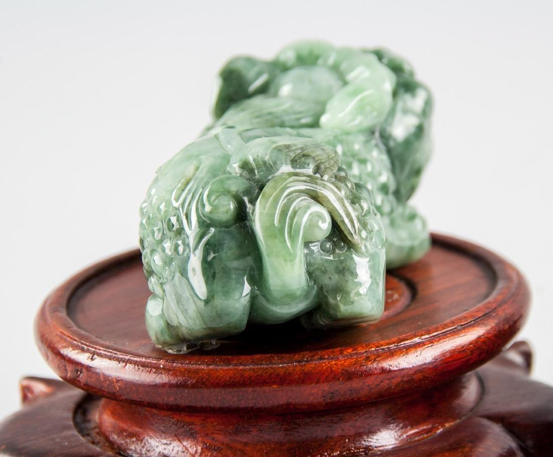 Pair Burma Green Jadeite Carved Guardian Lion - 4