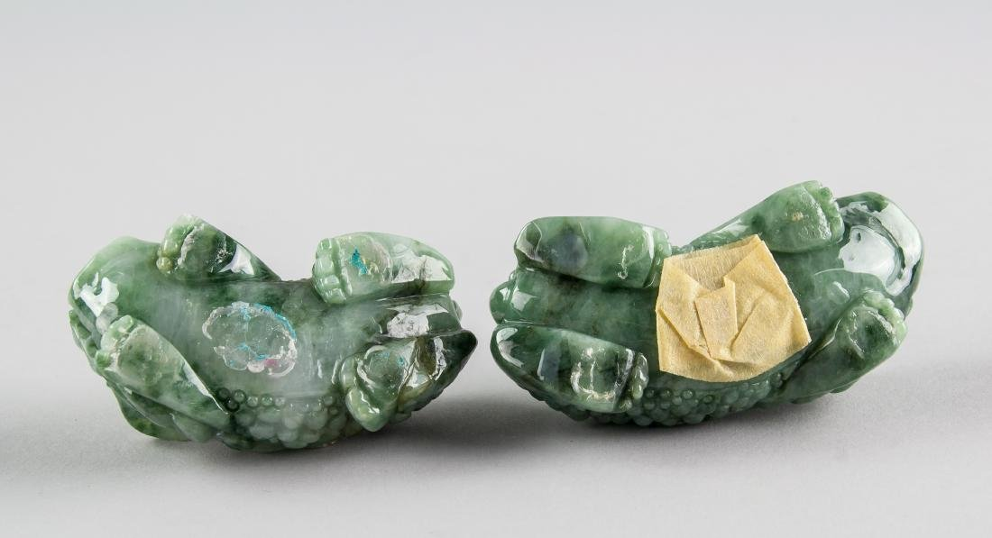 Pair Burma Green Jadeite Carved Guardian Lion - 8