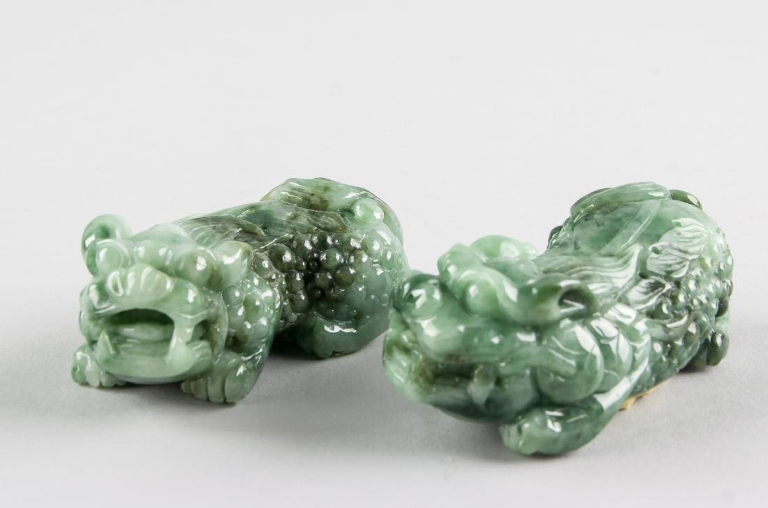 Pair Burma Green Jadeite Carved Guardian Lion - 9
