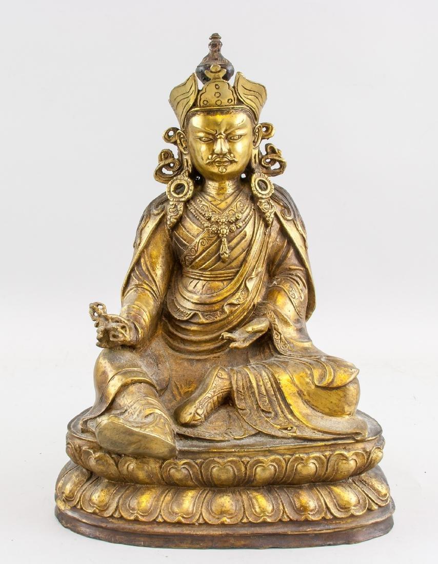 Tibetan Gilt Bronze Padmasambhava Staute