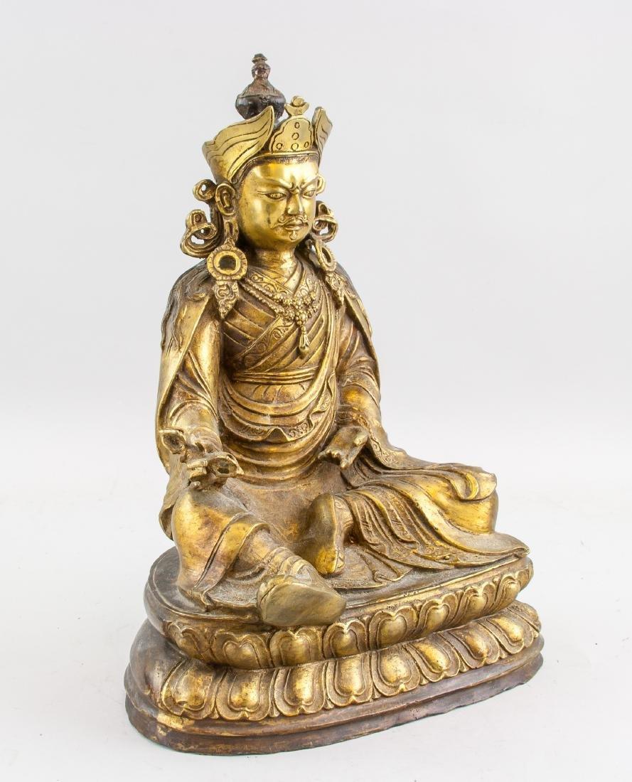 Tibetan Gilt Bronze Padmasambhava Staute - 2